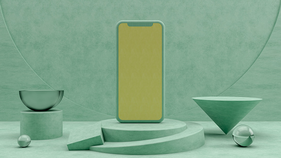 3d rendering of Smartphone, mockup, template for mobile application presentation with abstract geometric shapes and podium.