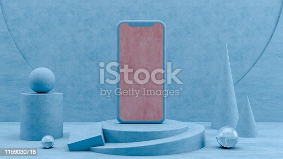 istock Smartphone Mobile Application Presentation Mockup with 3D Geometric Shapes and Podium 1159030718