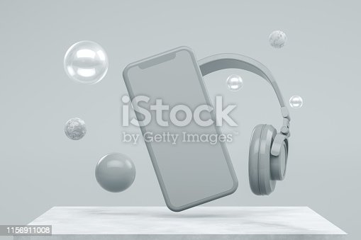 istock Smartphone Mobile Application Presentation Mockup with Flying Spheres 1156911008
