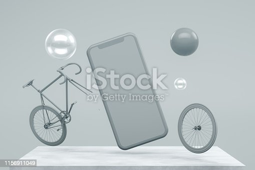 istock Smartphone Mobile Application Presentation Mockup with Flying Spheres and Bicycle 1156911049
