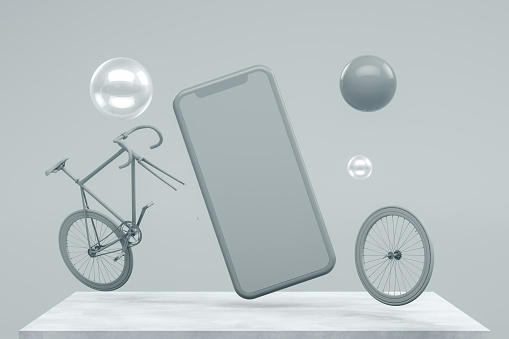 3d rendering of Smartphone, mockup, template for mobile application presentation with flying objects on gray color background.