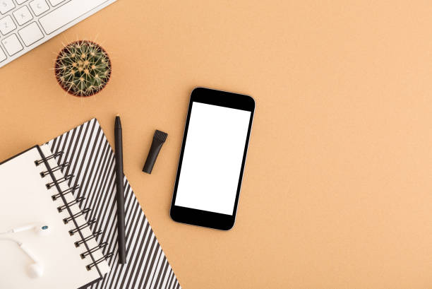 mock-up smartphone auf schule oder im büro arbeitsbereich, notebook und einen kaktus. flach zu legen. - unterrichtsplanung vorlagen stock-fotos und bilder