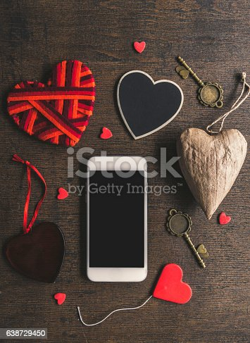 istock Smartphone mock up template for Valentine's day 638729450