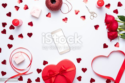 Smartphone mock up template for Valentine's day with heart shapes