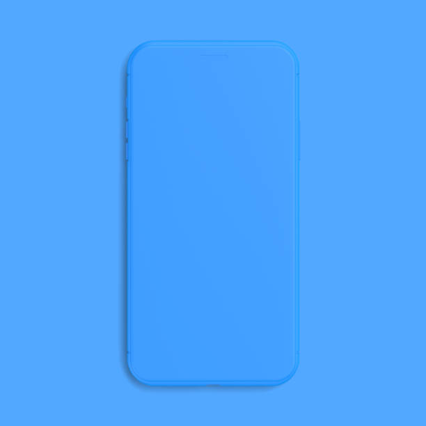 Smartphone Mockup blue color isolated on blue background stock photo