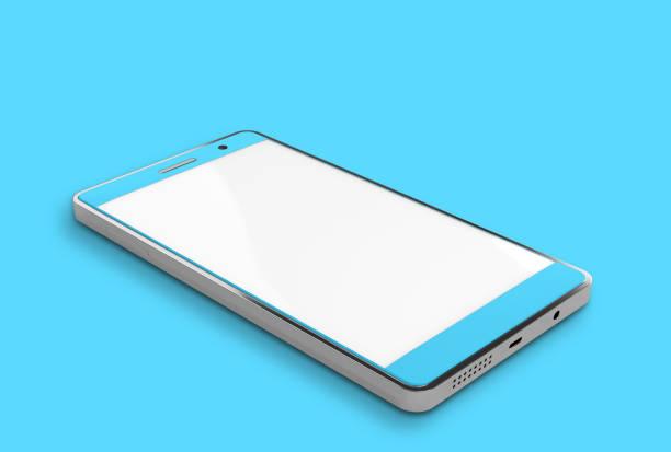 kırpma yolu ile smartphone mockup mavi renk. - yatmak stok fotoğraflar ve resimler