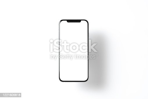 Smartphone mockup. New black frameless hovering smartphone with white screen. Isolated on color background. Based on high-quality studio shot. Smartphone frameless design concept.