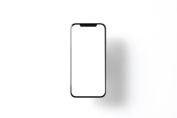 smartphone-mockup. neues schwarzes, rahmenloses schwebendes smartphone mit weißem bildschirm. isoliert auf farbhintergrund. basierend auf hochwertigen studioaufnahmen. smartphone rahmenloses designkonzept - künstlich stock-fotos und bilder