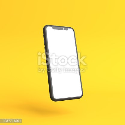 Smartphone mockup with blank white screen on a yellow background. Minimal concept. 3D Render Illustration