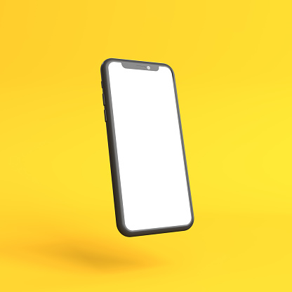Smartphone mockup with blank white screen on a yellow background