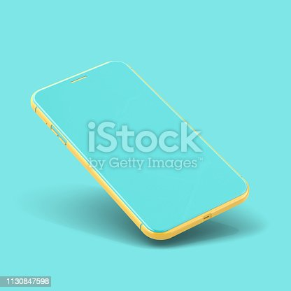 istock Smartphone Mockup yellow and blue color isolated 1130847598
