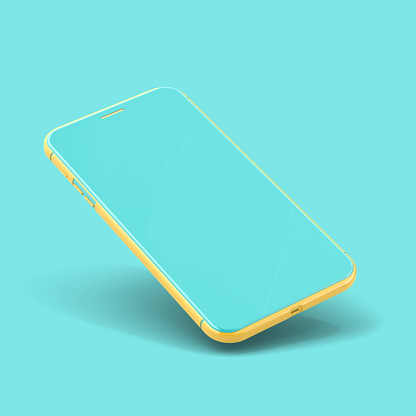 Smartphone Mockup yellow and blue color isolated on blue background with clipping path. minimal idea concept, 3D Render.