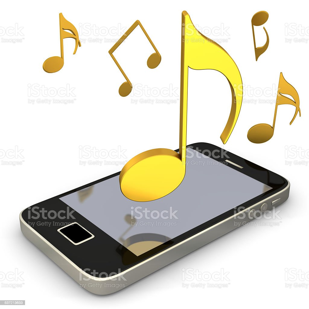 Smartphone Music Notes stock photo