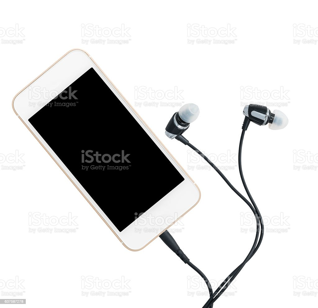 Smartphone music player and earbuds stock photo