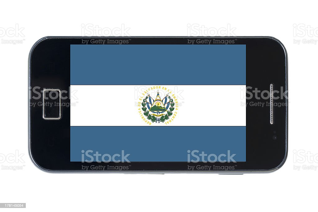smartphone national flag of el salvador stock photo