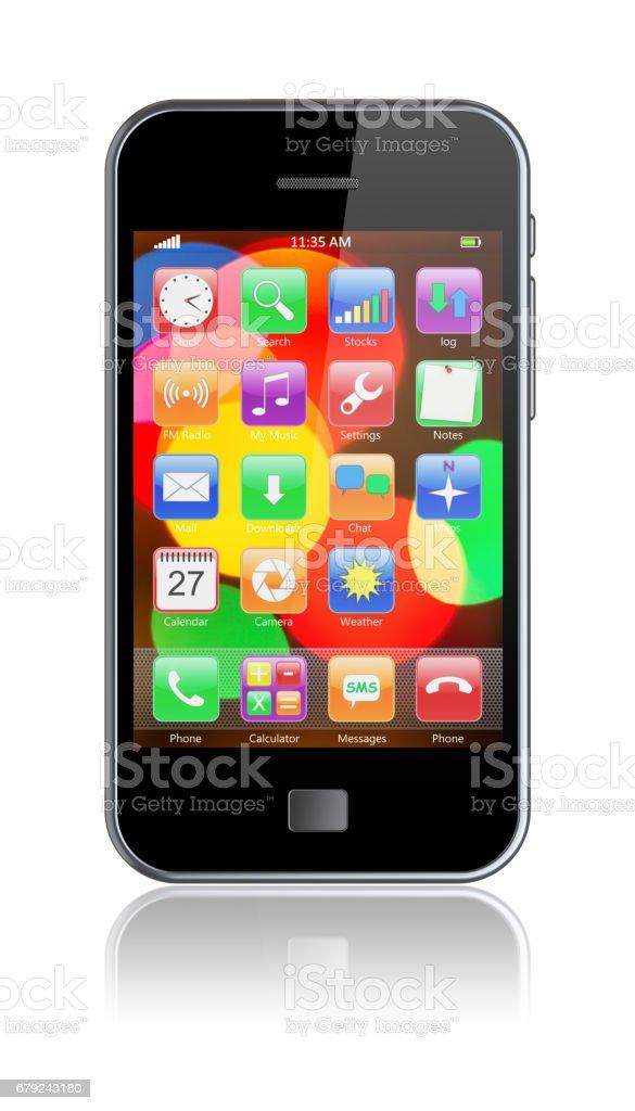 Téléphone intelligent sur un blanc photo libre de droits