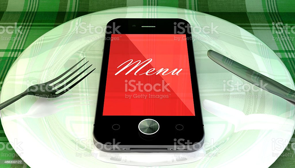 Smartphone on plate with fork and knife, order online concept stock photo