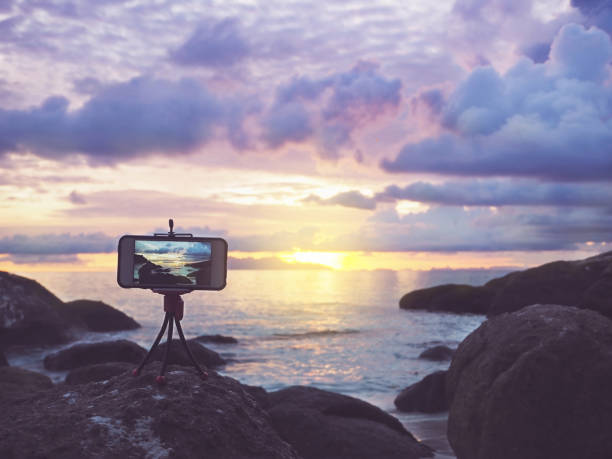 smartphone on stand mobile tripod stock photo
