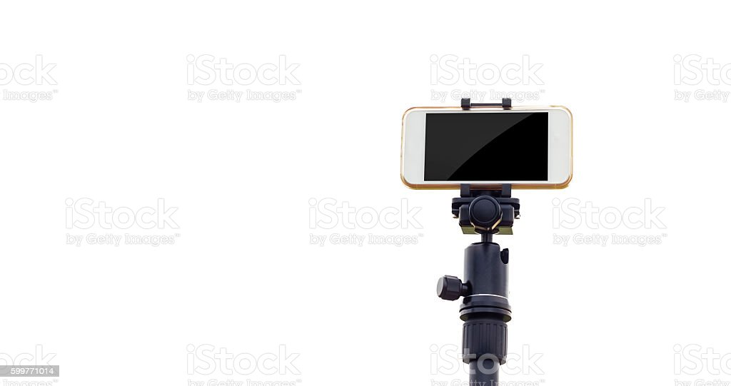 Smartphone on tripod isolate white background stock photo