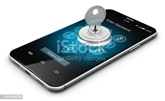 Creative abstract mobile internet web communication security and safety business commercial concept: 3D render illustration of modern black glossy touchscreen smartphone or mobile phone with enter password verification screen and metal house key with keyhole isolated on white background