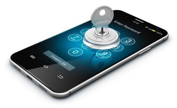 智慧手機或手機安全概念 - 電腦按鍵 個照片及圖片檔