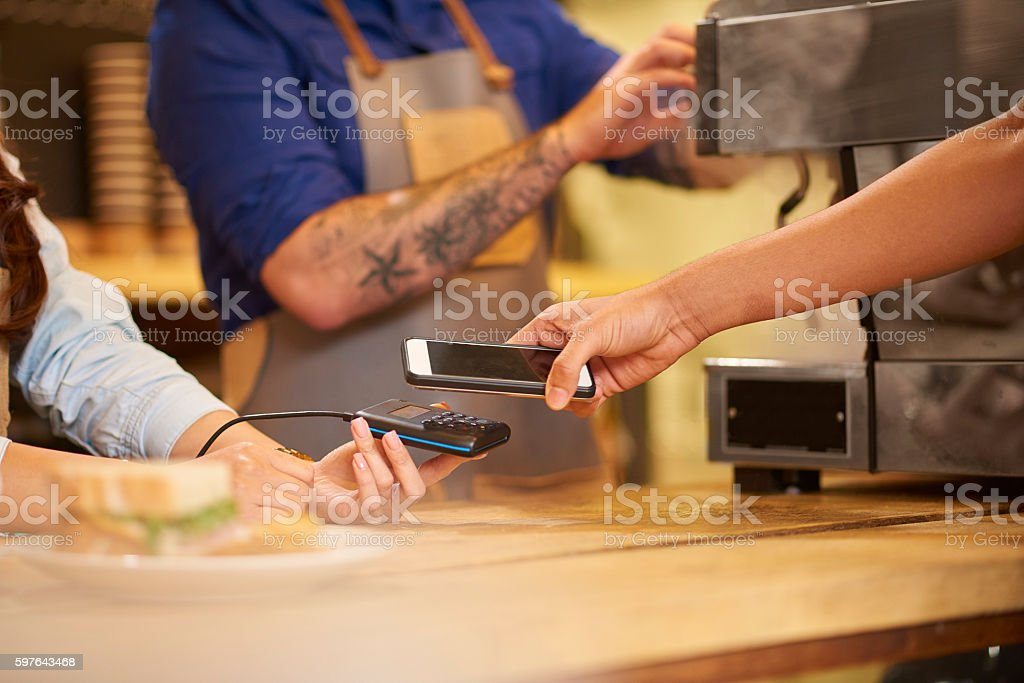 smartphone payment stock photo