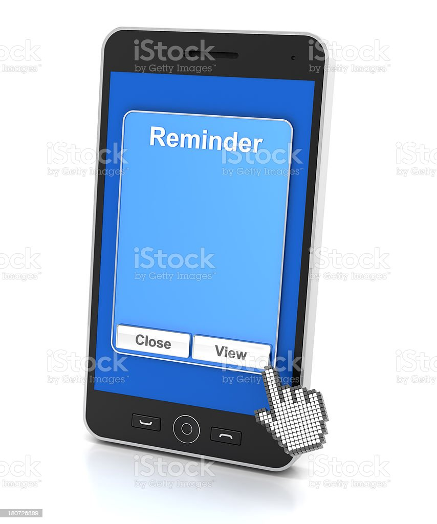 Smartphone reminder with copyspace royalty-free stock photo