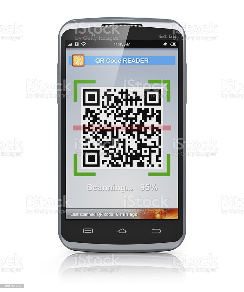 Smartphone scanning QR code royalty-free stock photo