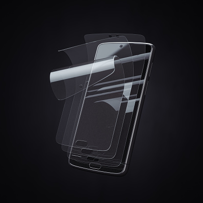 Smartphone screen protector glass or film cover. Transparent multi layered glass shield for mobile phone.