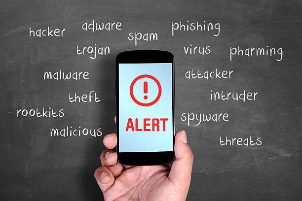 Smartphone security alert stock photo