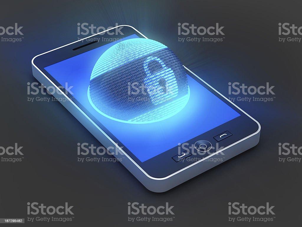 Smartphone security Smartphone security, 3d render Binary Code Stock Photo