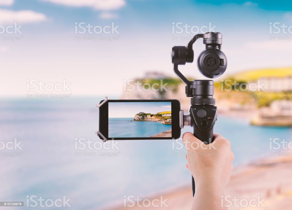 Smartphone shooting landscape on Isle of Wight stock photo
