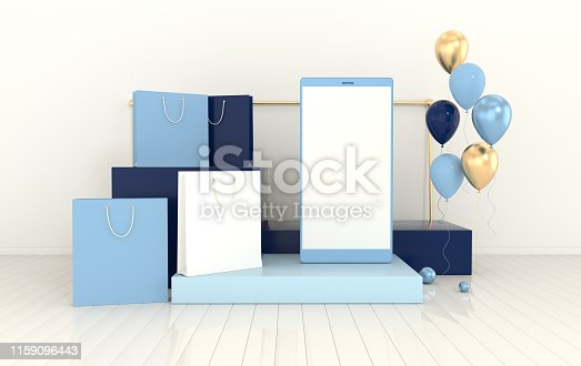 istock Smartphone, shopping bag, balloons mockup background in minimal style. Frameless  mobile phone 3d render. Technology gadget concept. Set of platforms, podium for product presentation 1159096443