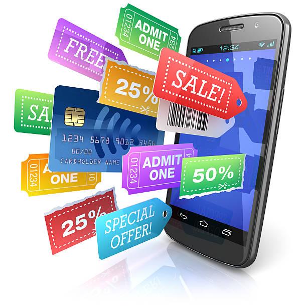 Smartphone-shopping bietet Konzept – Foto