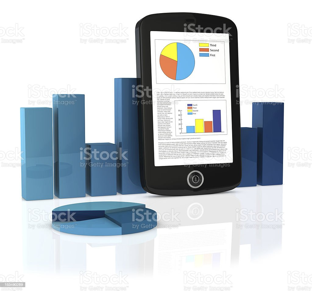 Smartphone standing next to blue business icons royalty-free stock photo