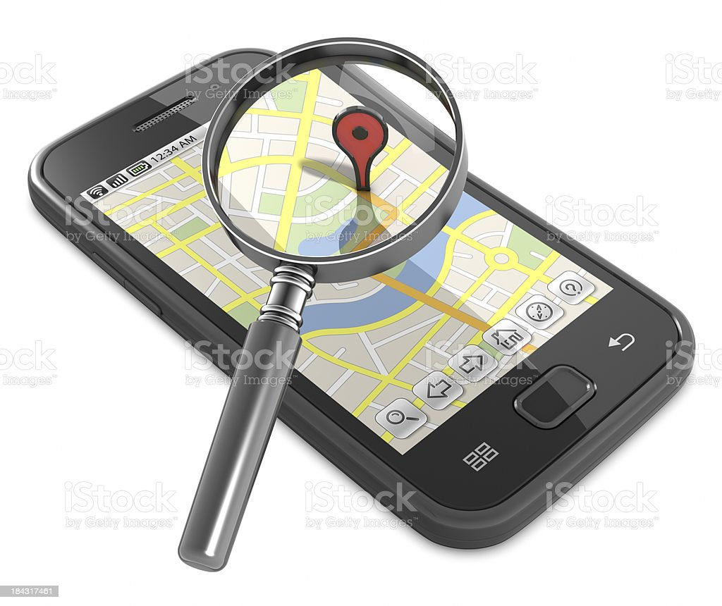 Smartphone street map search royalty-free stock photo