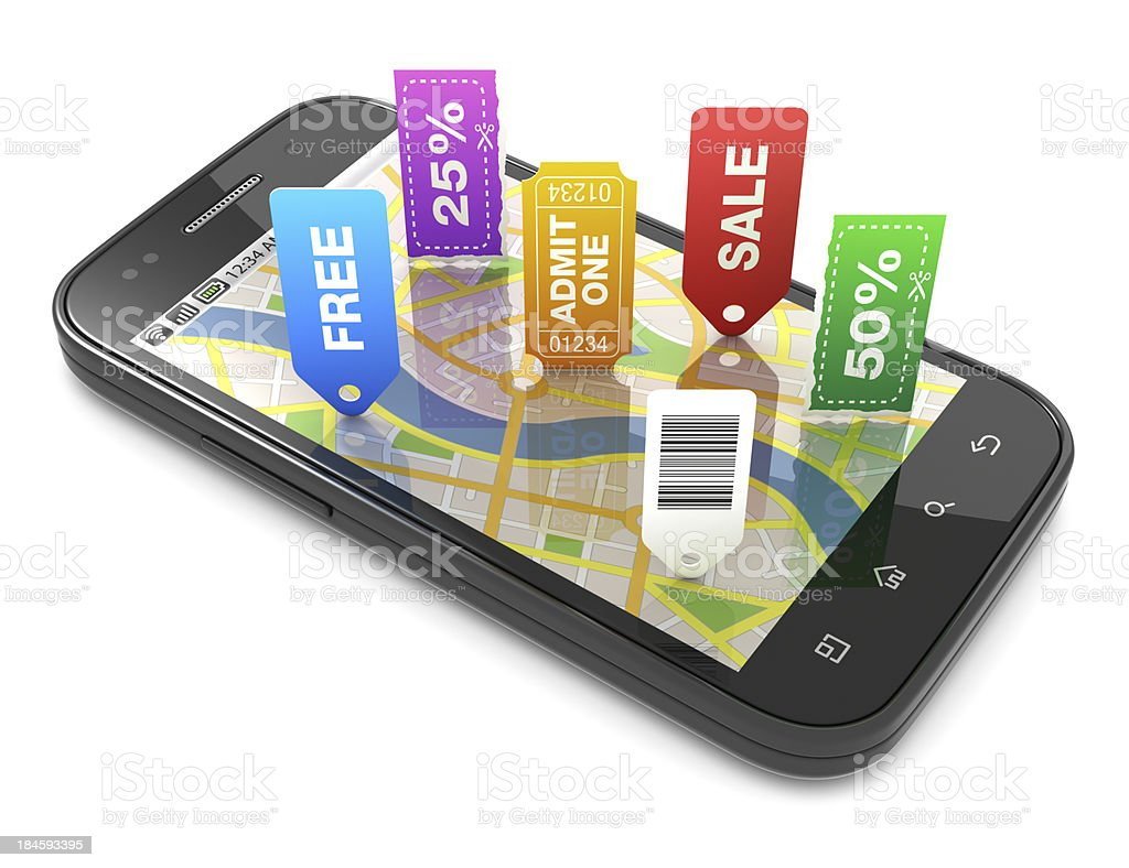 Smartphone streetmap offers stock photo
