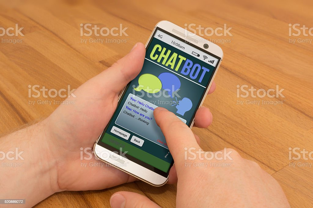 CHATBOT Smartphone swiping / gesture control AI stock photo