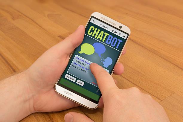 smartphone interactions/geste contrôle ia chatbot - chatbot photos et images de collection