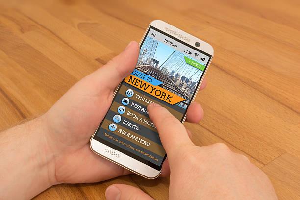 Smartphone swiping / gesture control New York Travel Guide stock photo