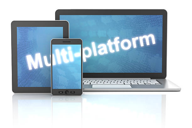 smartphone, tablet and laptop with multi-platform word, 3d render - construction platform stock pictures, royalty-free photos & images