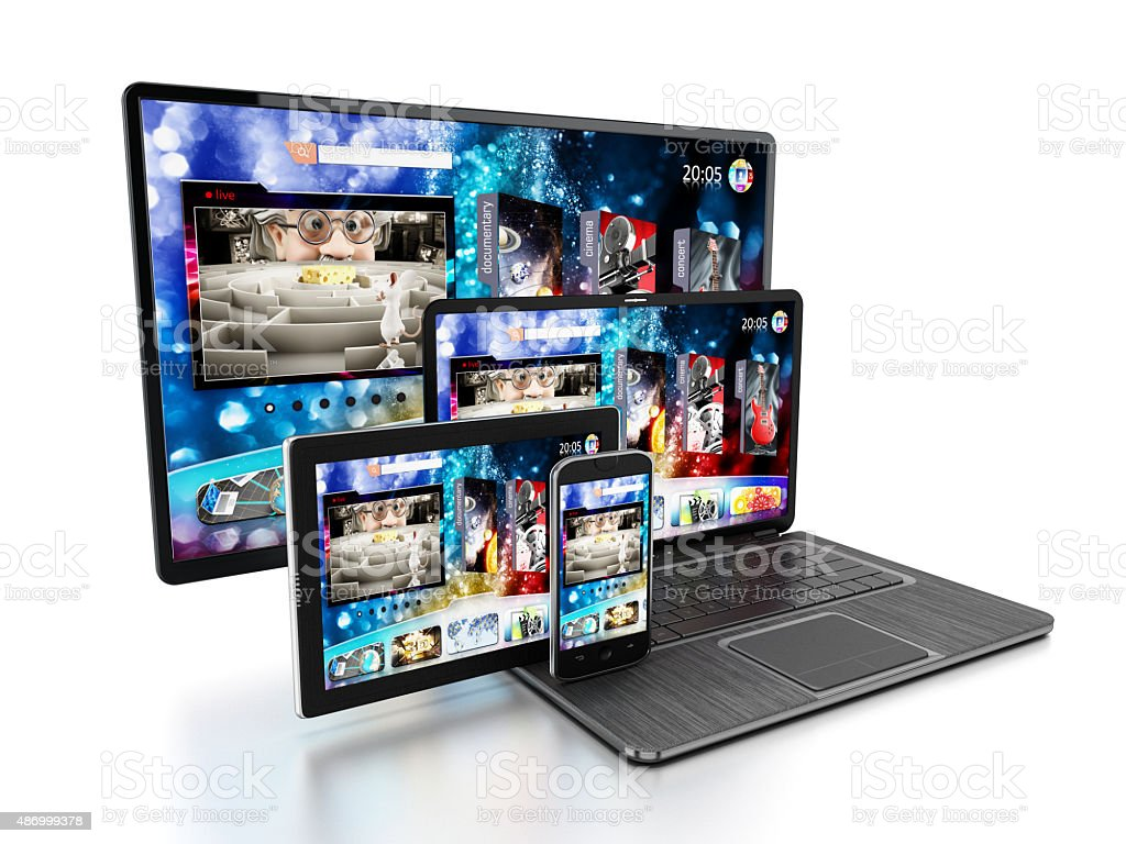 Smartphone, tablet computer, laptop PC and TV stock photo
