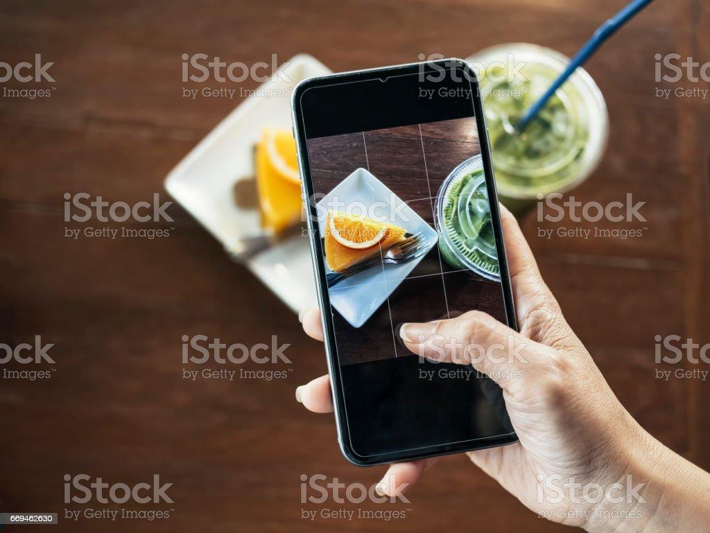 Smartphone take shot food and drink photo stock photo