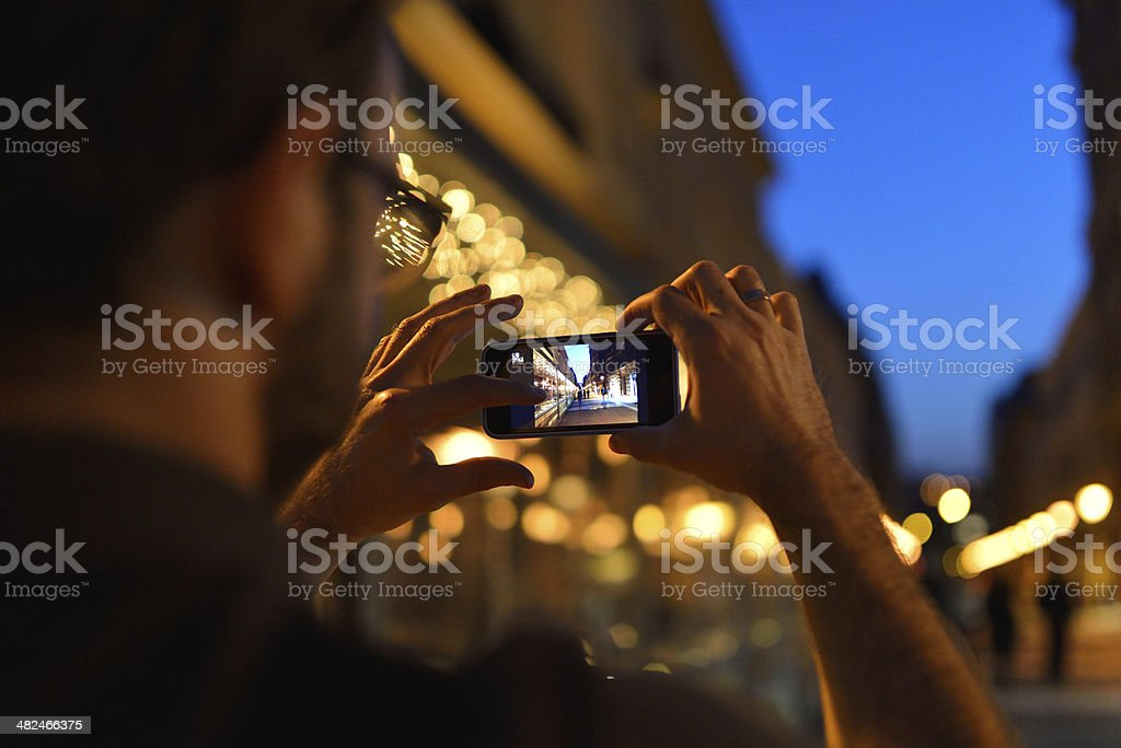 Smartphone taking picture stock photo