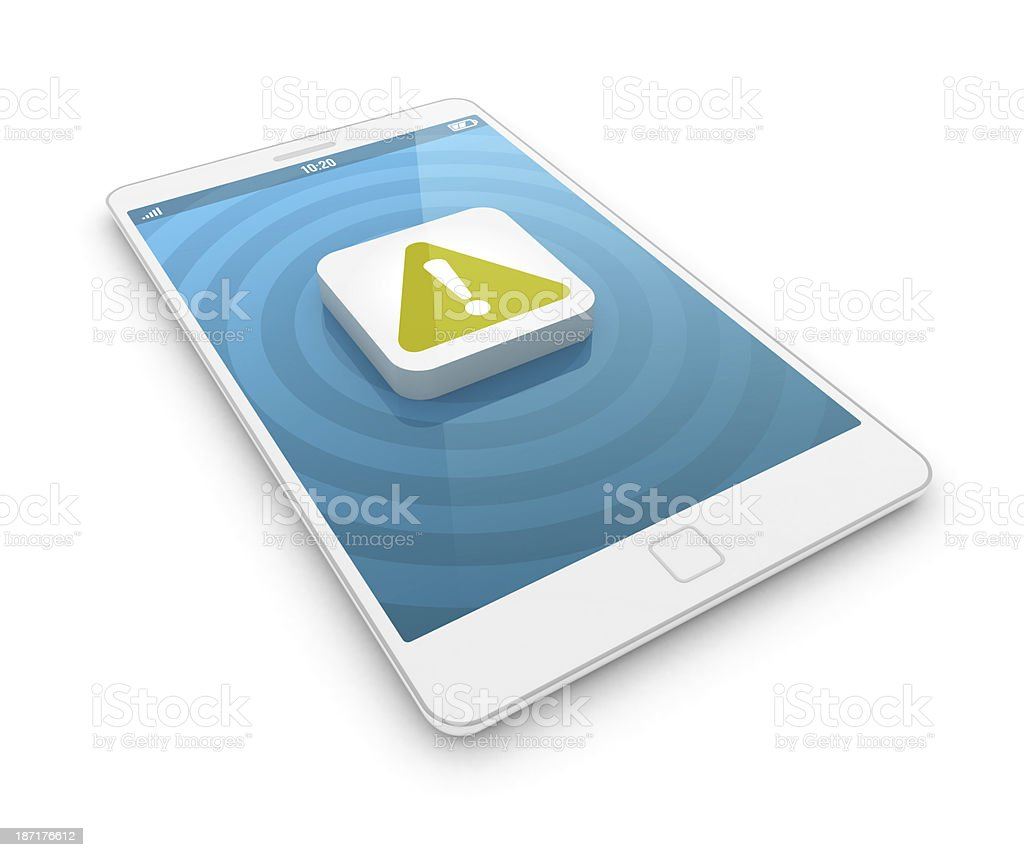 Smartphone - warning sign stock photo
