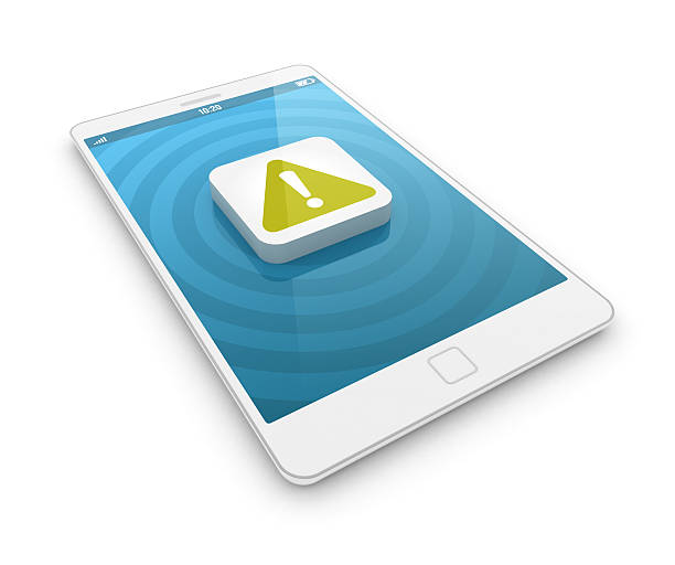 Smartphone - warning sign stock photo