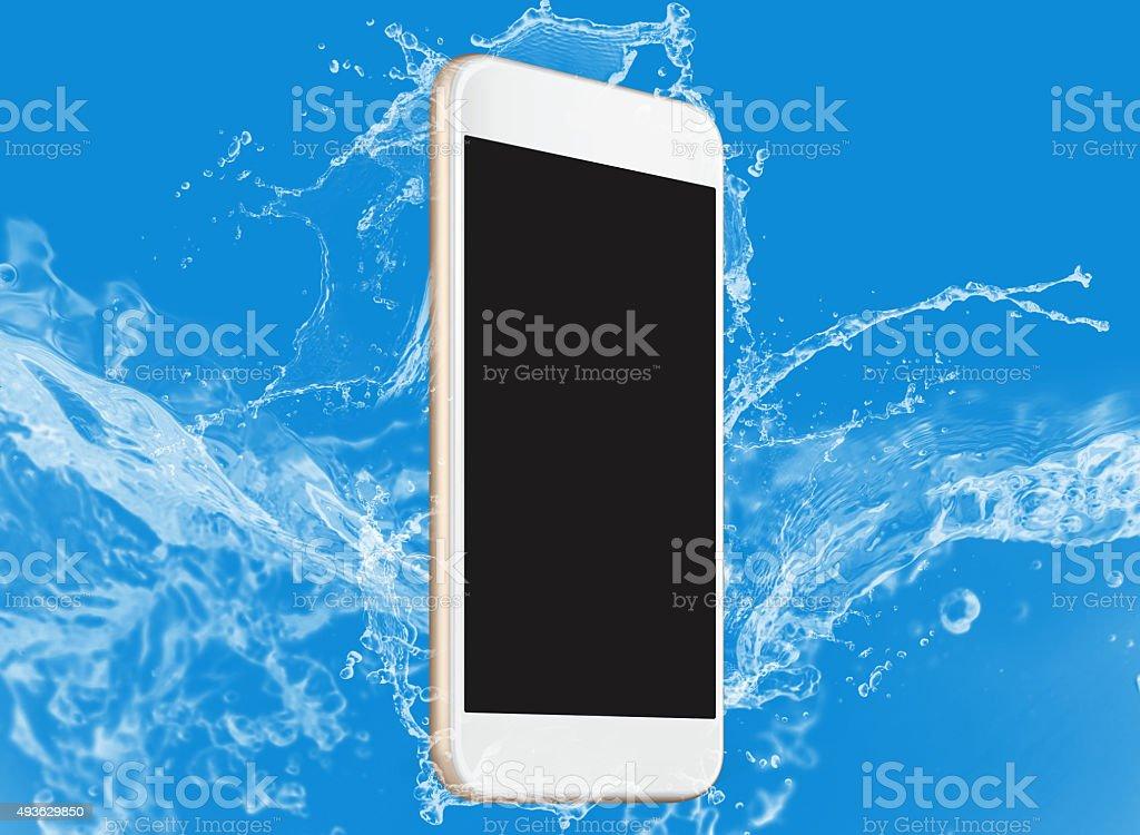 Smartphone water splash effect stock photo