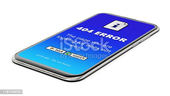 istock Smartphone with 404 error screen isolated on white 1181405232