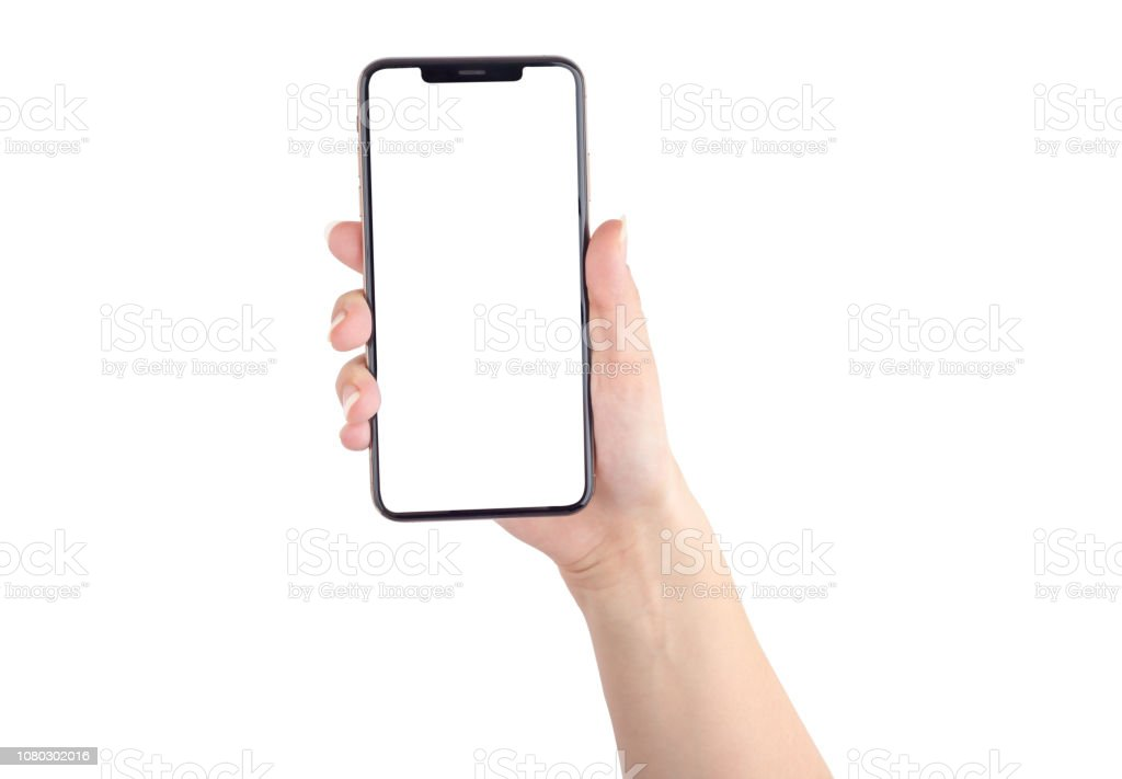 Smartphone with a blank white screen. New popular smartphone in hand on white background. royalty-free stock photo