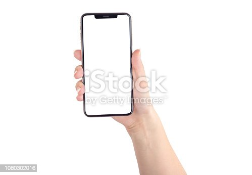 Smartphone with a blank white screen. New popular smartphone in hand on white background.